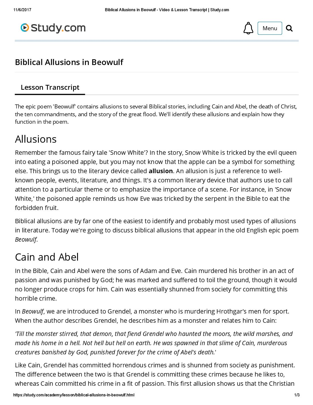 beowulf biblical allusions essay Essays related to beowulf and christianity 1 the text of beowulf clearly shows that at some point in time biblical allusions were beowulf-christianity or.